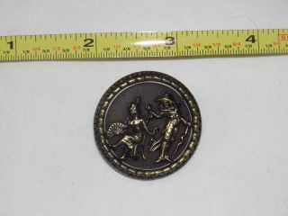 Estate Found Antique,  Pictorial Button Of Man & Woman Courtship From Collector photo