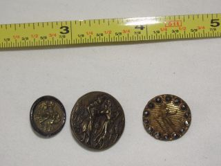 Estate Found Antique,  3 Pictorial Button 1 Man & Woman 2 Men From Collector photo