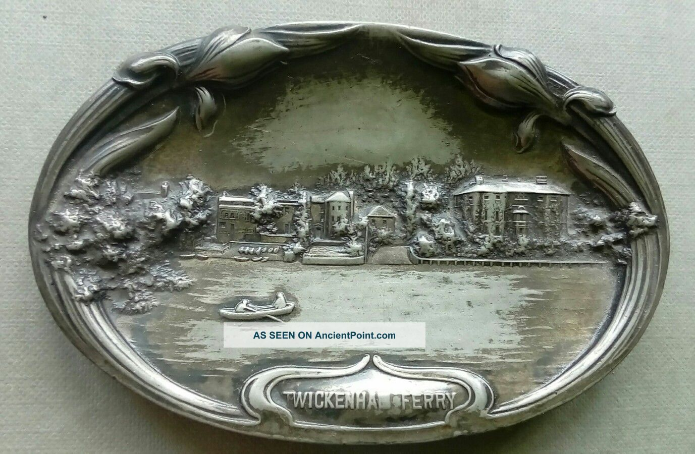 Pewter Card Tray Art Noveau Twickenham Ferry Thames C1900 Middlesex History Art Nouveau photo