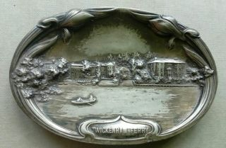 Pewter Card Tray Art Noveau Twickenham Ferry Thames C1900 Middlesex History photo