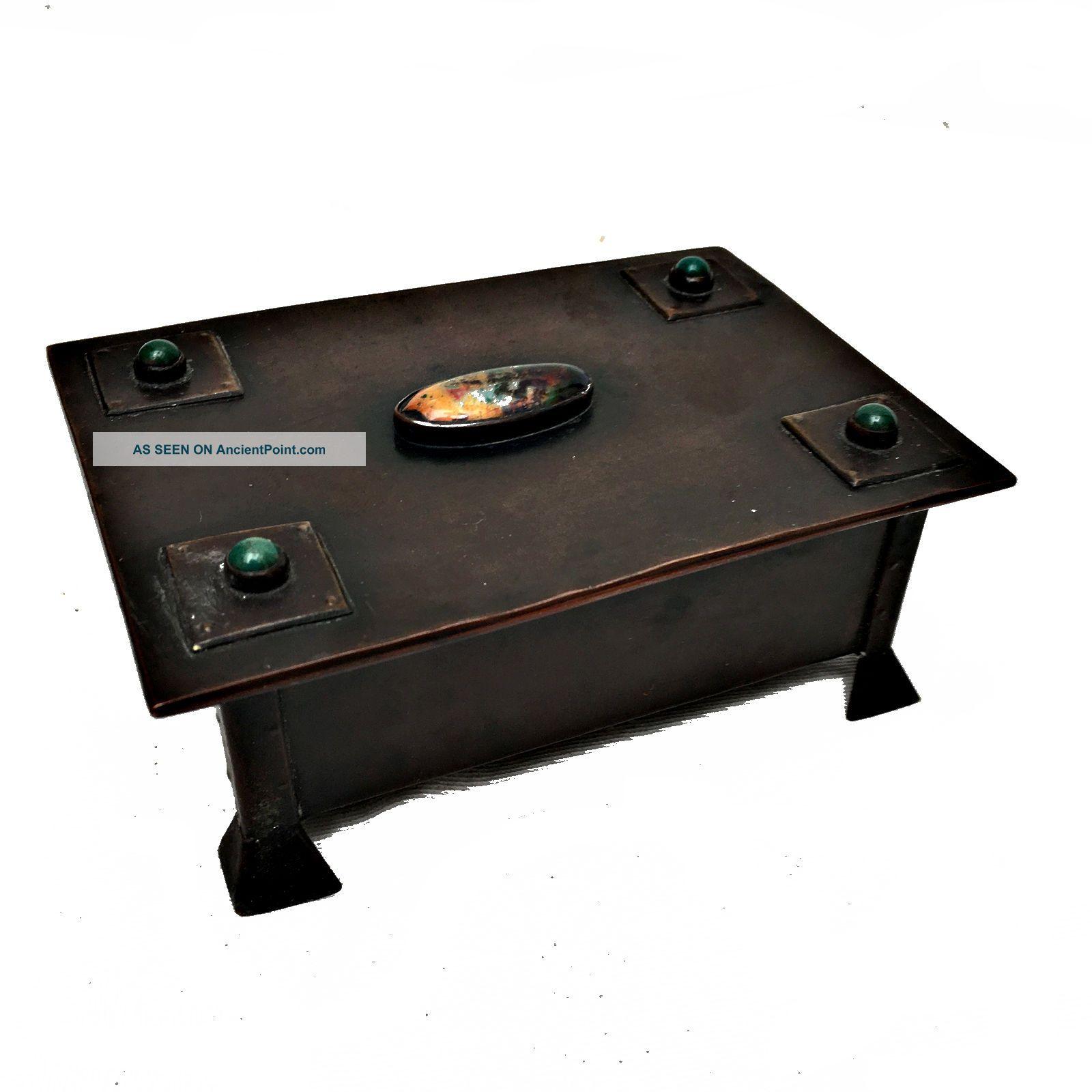 Arts & Crafts Copper Trinket Box Enamel/ruskin Cabochons Rivets Circa 1900 Arts & Crafts Movement photo