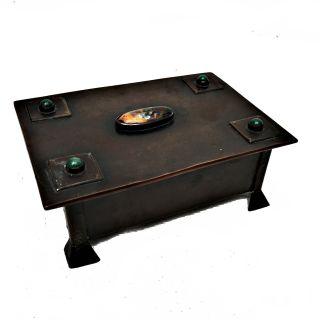 Arts & Crafts Copper Trinket Box Enamel/ruskin Cabochons Rivets Circa 1900 photo