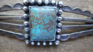 Antique Navajo Silver & Turquoise Pin/ Early Ink Mark Verso (1920 ?) Old Pawn ? photo