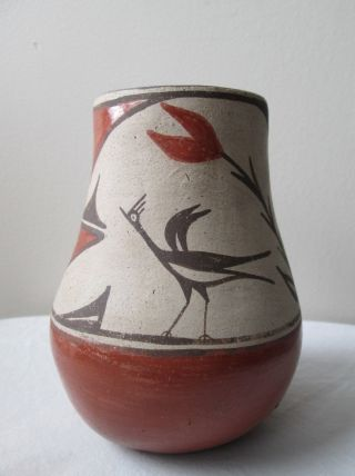 Antique 1930s Polychrome Native American Indian Zia Pueblo Pottery Vase Wit Bird photo