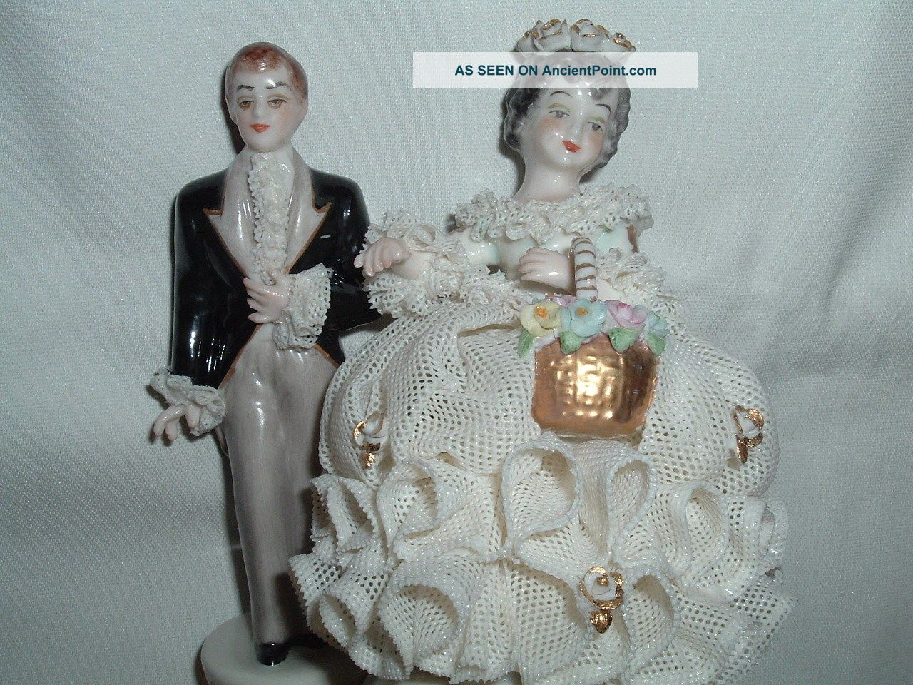 Antique Muller Volkstedt Irish Dresden Porcelain Lace Bride And Groom Figurines photo