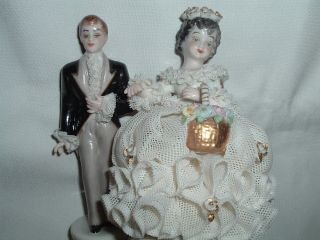 Antique Muller Volkstedt Irish Dresden Porcelain Lace Bride And Groom photo
