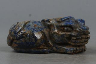 Chinese Exquisite Hand - Carved Brave Troops Carving Lapis Lazuli Statue photo