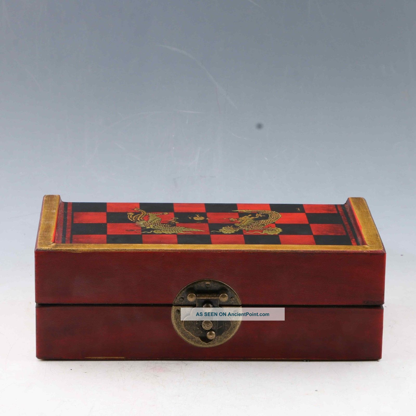 Chinese Antique Handwork Character Chess & Wooden Box Boxes photo