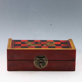 Chinese Antique Handwork Character Chess & Wooden Box photo