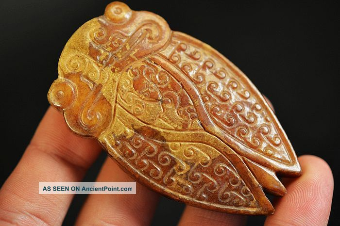 Exquisite Workmanship Old Jade Carved Cicada Pendant D15 Necklaces & Pendants photo