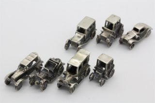 7 Sterling Silver 925 Antique Mini Miniature Auto Automobile Car Figurines Liv photo