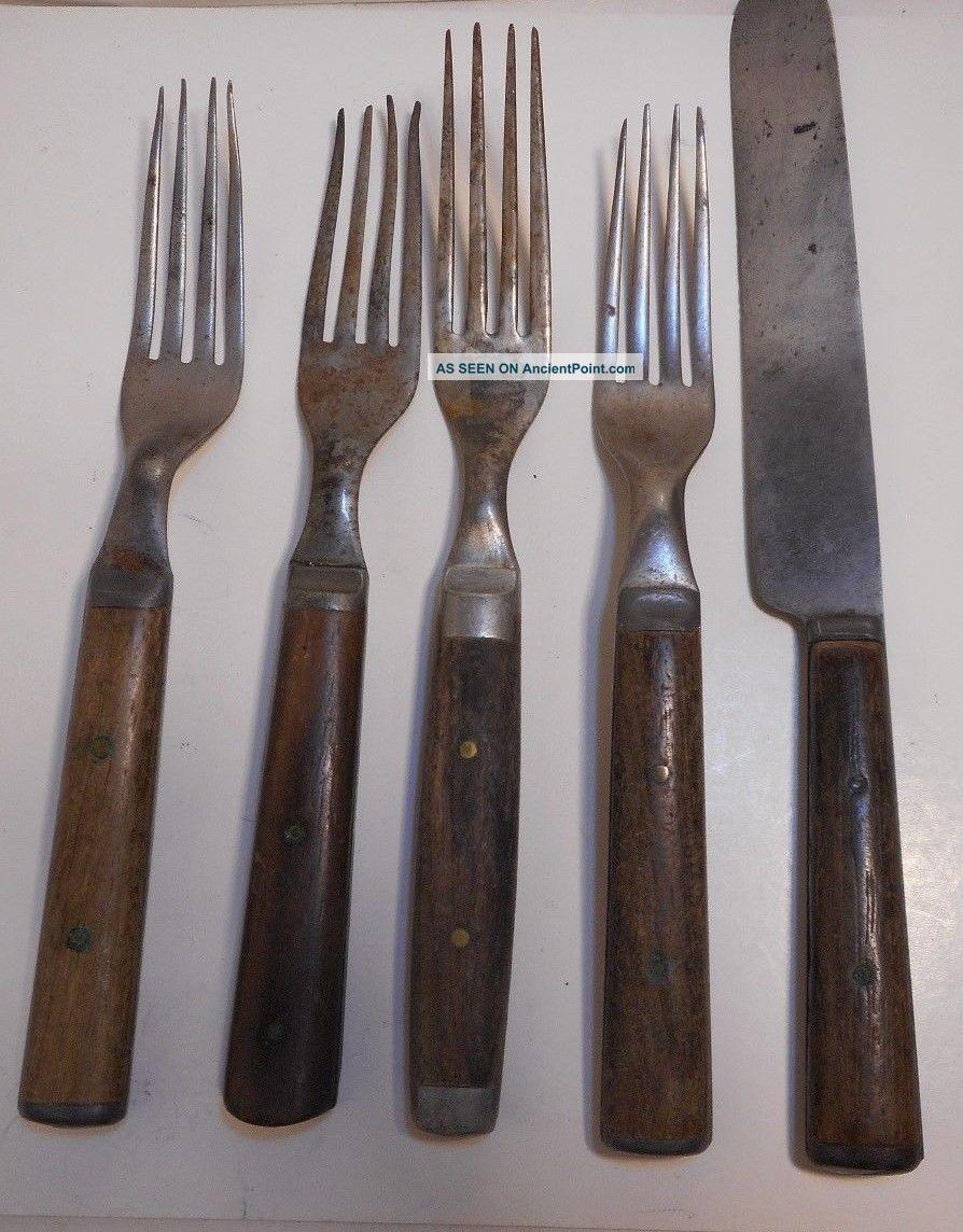 4 Antique Wooden Handled 4 - Prong Forks 1 Knife Civil War Americana Utensils Primitives photo