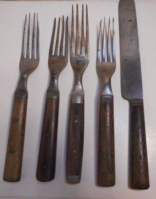 4 Antique Wooden Handled 4 - Prong Forks 1 Knife Civil War Americana Utensils photo