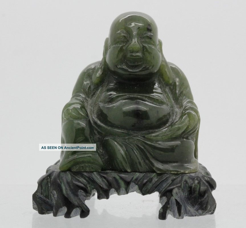 Chinese Export Carved Green Jade Buddha Happy Hotei Mini Miniature Sculpture Liv Figurines & Statues photo