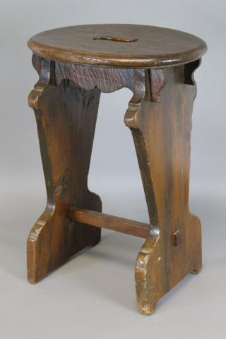 A Rare 16th C English Boarded Joint Stool Great Old Color photo