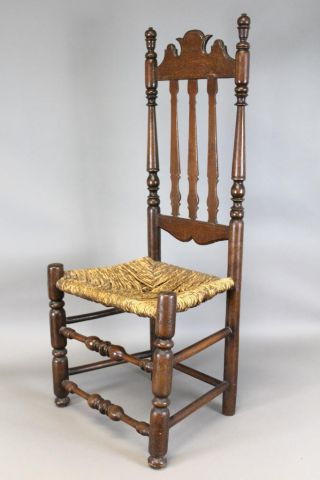 A Very Rare 17th C Ct Pilgrim Period Bannister Back Chair Great Carved Crest photo