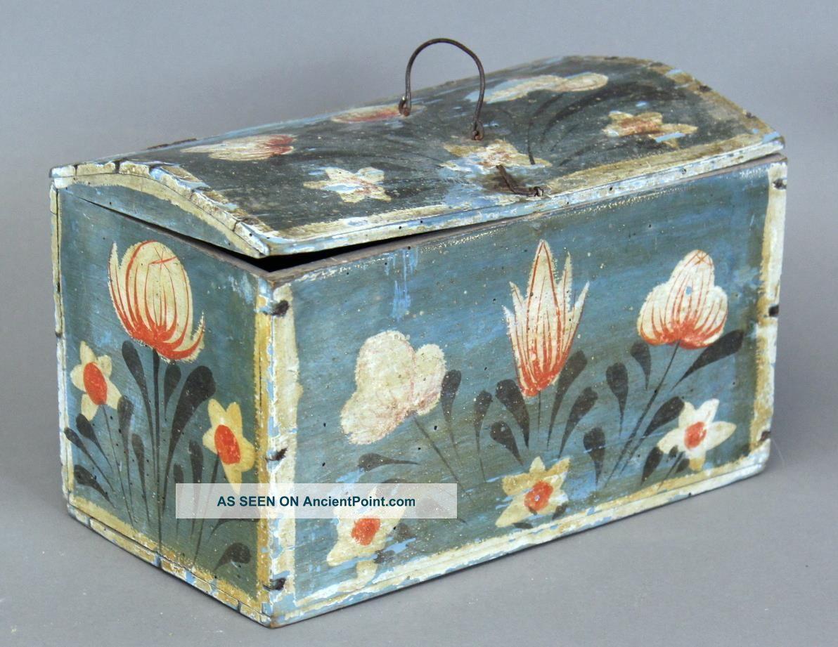 Great 19th C Pa German Folk Art Blue Painted Box Best Tulip Painted Decoration Primitives photo