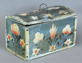 Great 19th C Pa German Folk Art Blue Painted Box Best Tulip Painted Decoration photo