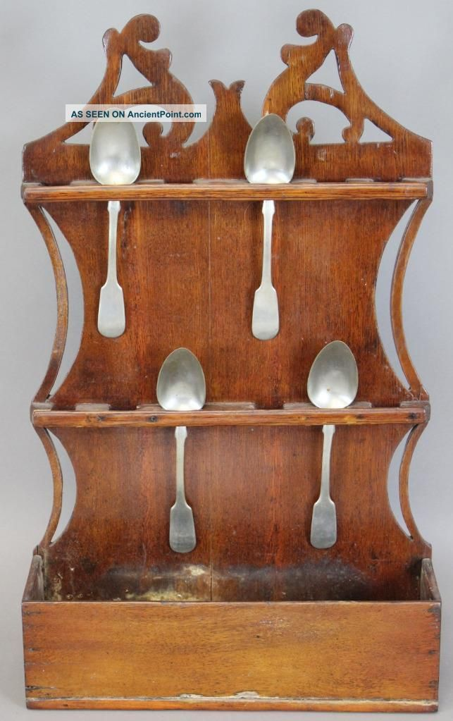 Great 18th C Pa German Scrolled And Carved Crest Wood Spoon Rack In Old Surface Primitives photo