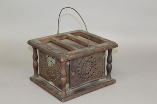 A Fine 18th C Decorated Punched Tin & Wood Footwarmer In Its Surface photo