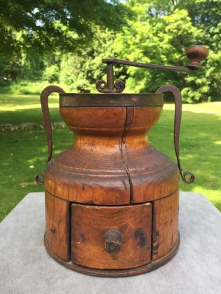 Antique Wood & Hand Forged Iron Early Primitive Coffee Grinder Aafa photo