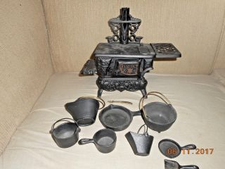 Antique Salesman Sample Crescent Cast Iron Stove Complete Iron Toy Pots Pans photo