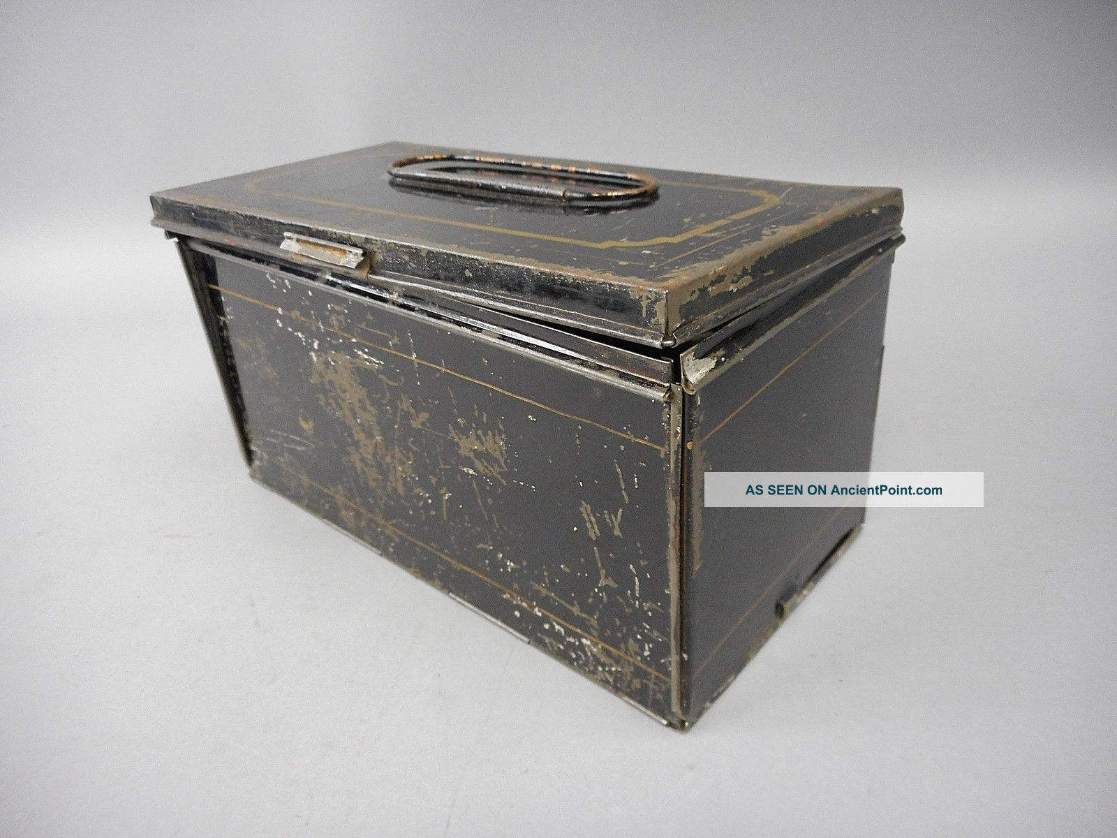 Rare Black & Gold Antique Tin Haywood & Hurlbut ' S Folding Lunch Box Pat ' D 1866 Other Antique Home & Hearth photo