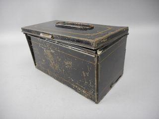 Rare Black & Gold Antique Tin Haywood & Hurlbut ' S Folding Lunch Box Pat ' D 1866 photo