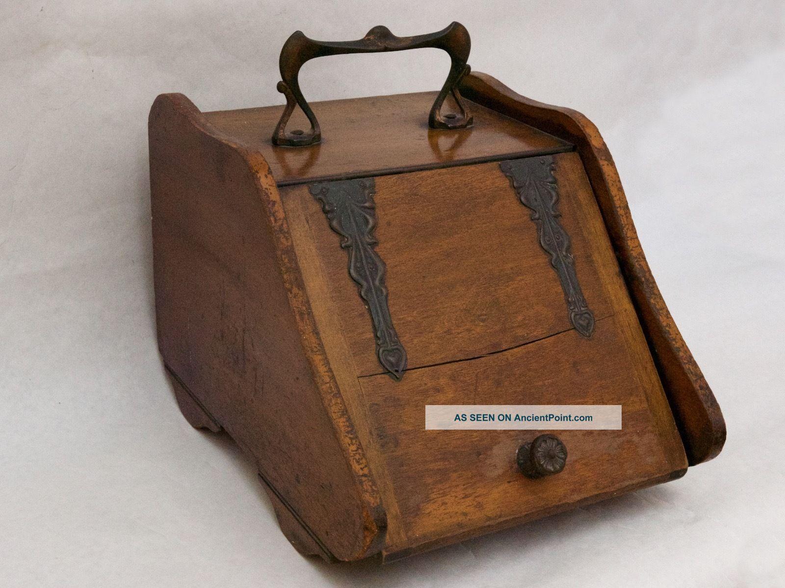 Antique English Wooden Coal / Ash Scuttle Box,  Art Nouveau Handle Hearth Ware photo