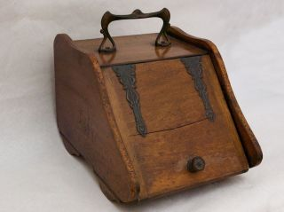 Antique English Wooden Coal / Ash Scuttle Box,  Art Nouveau Handle photo