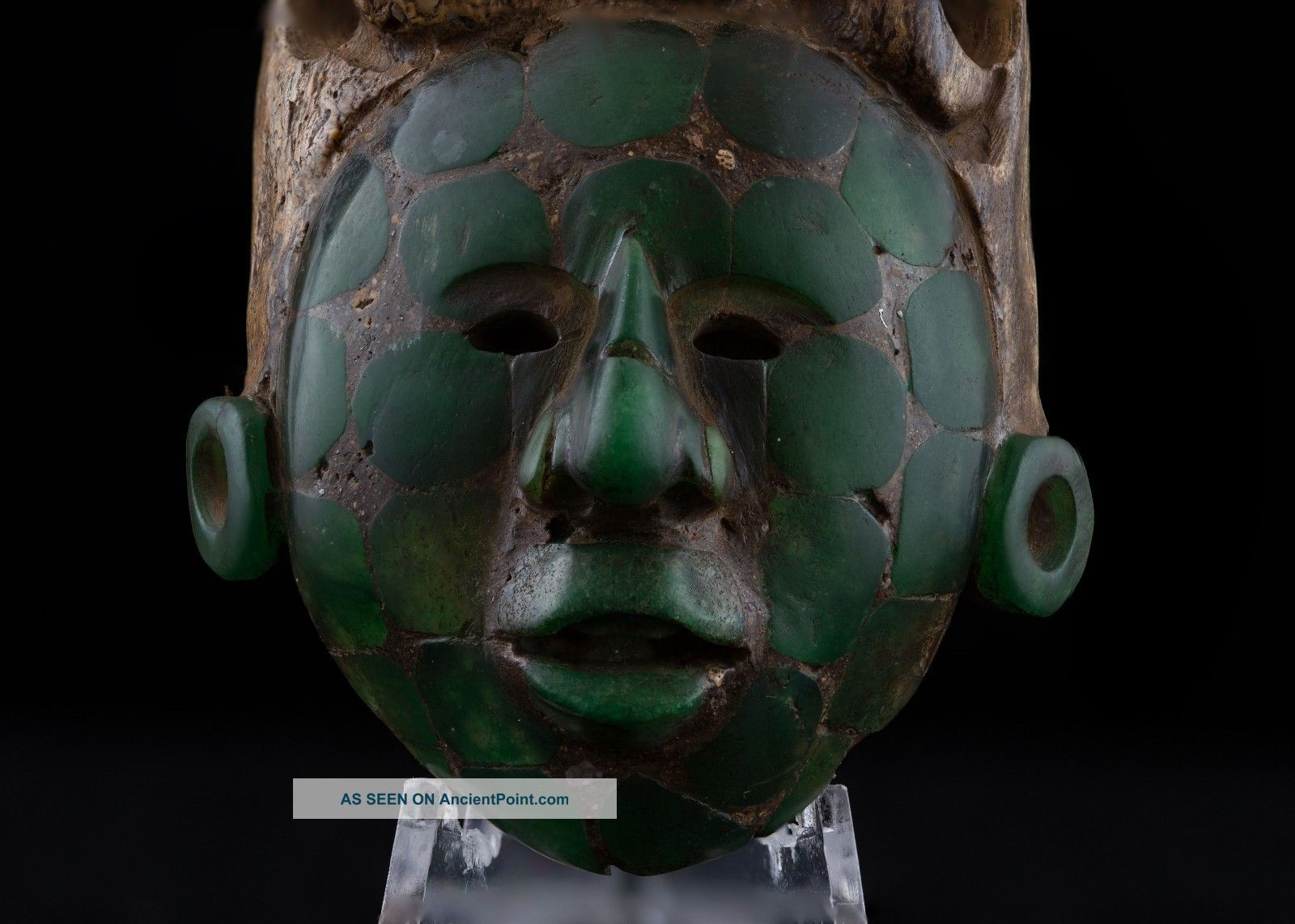 Stunning Pre Columbian Mayan Mosaic Stone King Face Maskette Antique Statue The Americas photo