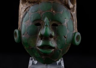 Stunning Pre Columbian Mayan Mosaic Stone King Face Maskette Antique Statue photo