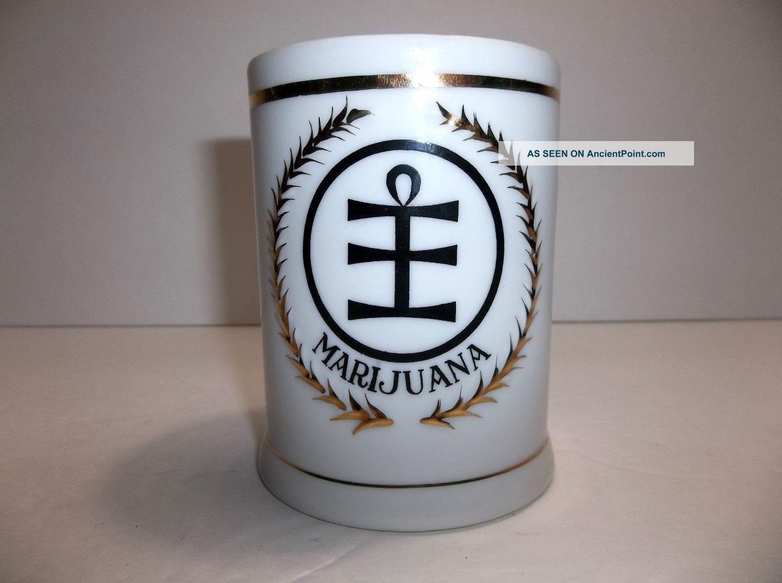 Vintage Freeman Lederman Marijuana Herb Porcelain Apothecary Jar Jars photo