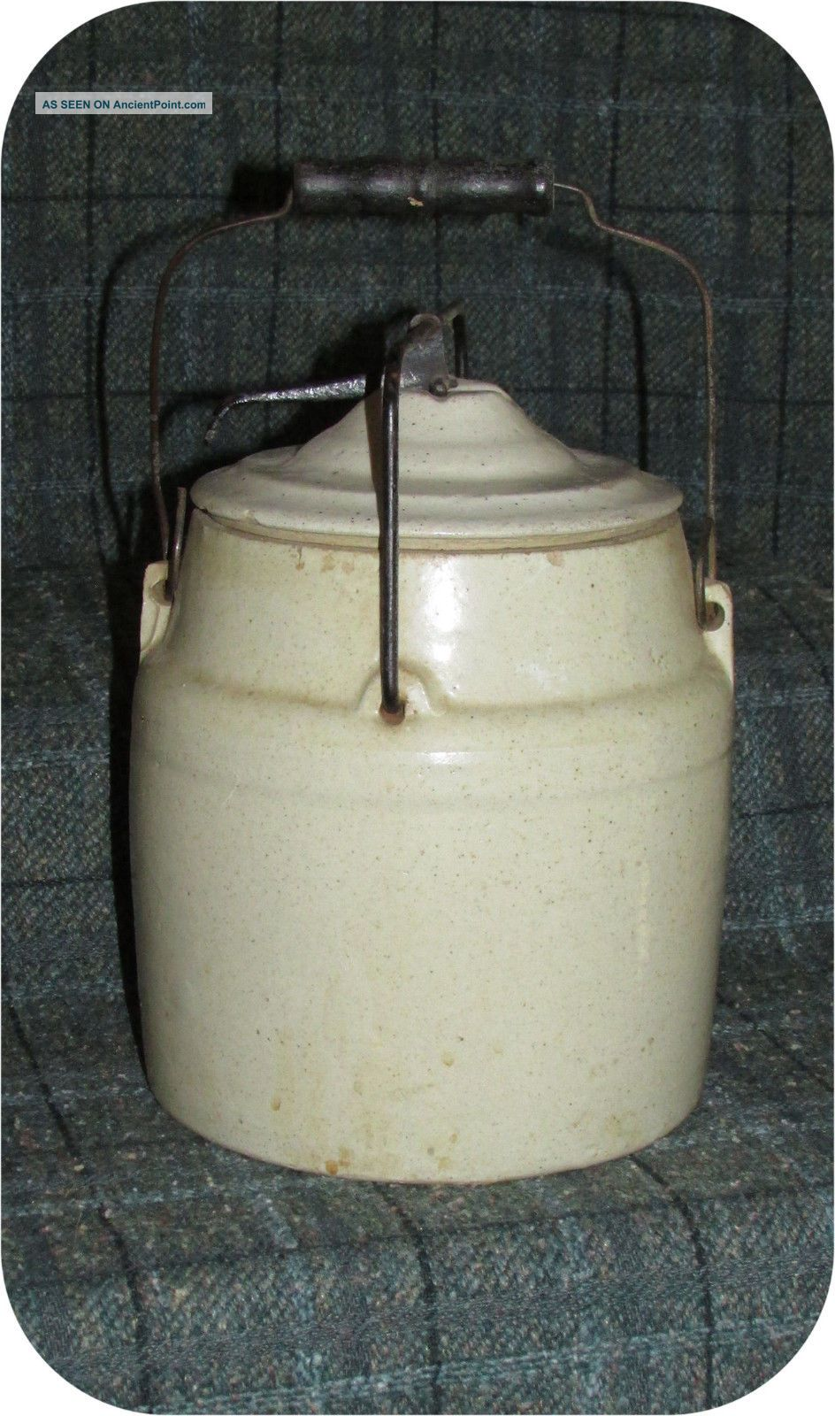 Antique 2 Quart Bread Mother Yeast Starter Stoneware Crock With Handle Crocks photo