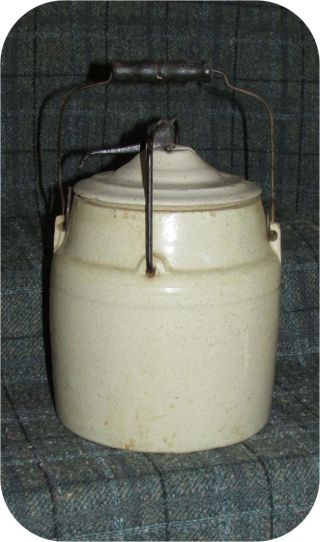 Antique 2 Quart Bread Mother Yeast Starter Stoneware Crock With Handle photo