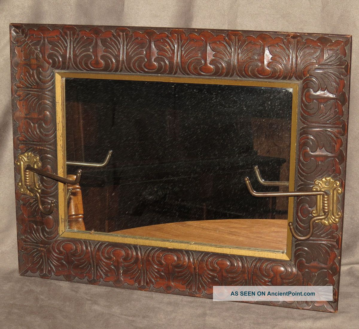 Victorian Antique Vintage 1880s Wood Carved Mirror And Hat Accessories Rack Mirrors photo