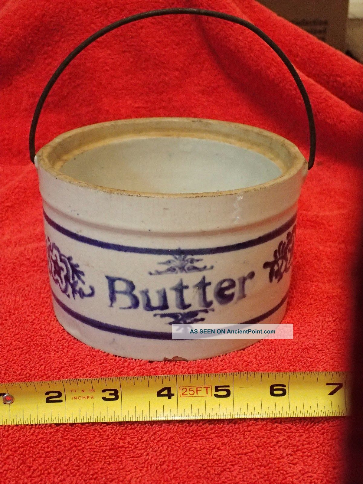 Antique/vintage Stoneware Butter Crock Cream With Blue Decorations Crocks photo