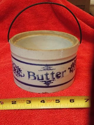 Antique/vintage Stoneware Butter Crock Cream With Blue Decorations photo