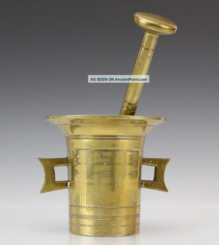 Solid Vtg Brass Double Handle Apothecary Herb Spice Medicine Mortar & Pestle Liv Mortar & Pestles photo