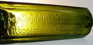 Unlisted 19c Olive Rossbacher Magenbitter Hof German Bitter Bottle Glass Liquor photo