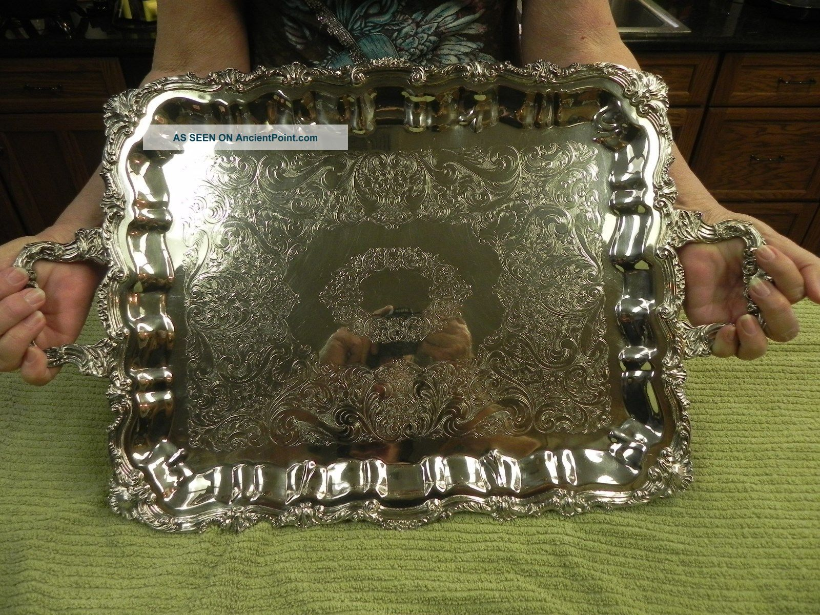 Large Sheridan Silver Plated Butler Tray 1950 ' S Platters & Trays photo
