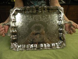 Large Sheridan Silver Plated Butler Tray 1950 ' S photo