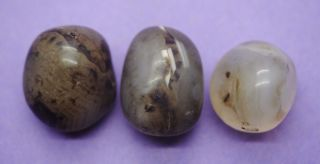 Group Of 3 Antique Polished Translucent Stone Beads photo
