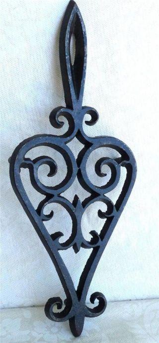 Antique Fleur - De - Lis Cast Iron Trivet With Handle,  3 Footed photo
