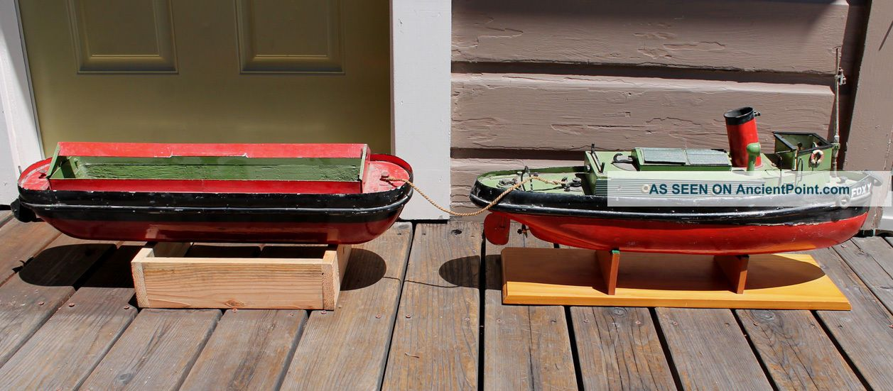 Antique Vintage Toy Bassett Lowke Model Wooden Toy Motored Boat Tugboat & Barge Model Ships photo