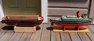 Antique Vintage Toy Bassett Lowke Model Wooden Toy Motored Boat Tugboat & Barge photo