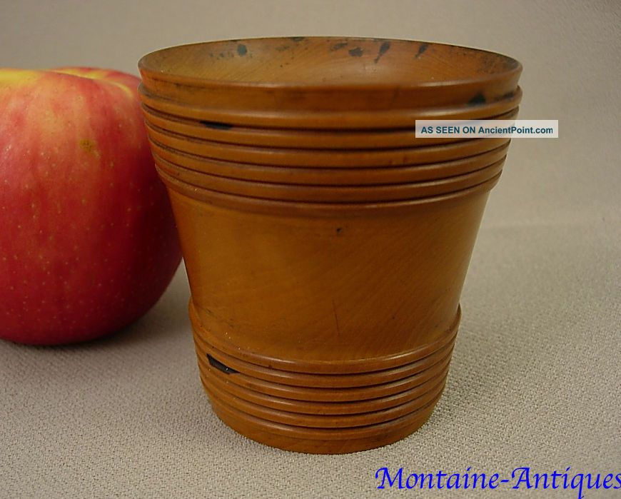 Fine Antique Maple Treenware Sander Pounce Pot (22) 19th Cent Primitives photo