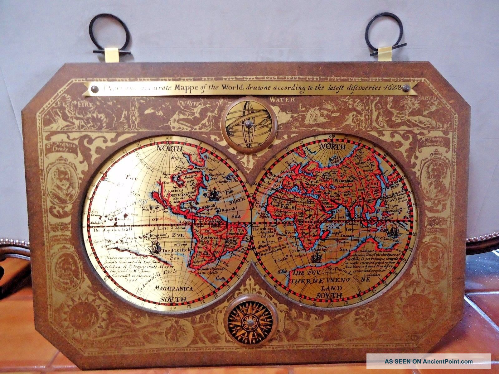 Vintage / Mid Century 1964 Masketeers Brass & Wood Map Of The World In 1628 Other Maritime Antiques photo