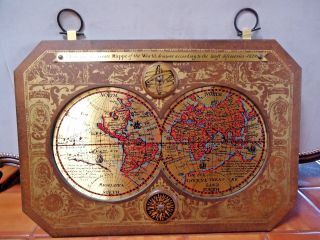 Vintage / Mid Century 1964 Masketeers Brass & Wood Map Of The World In 1628 photo