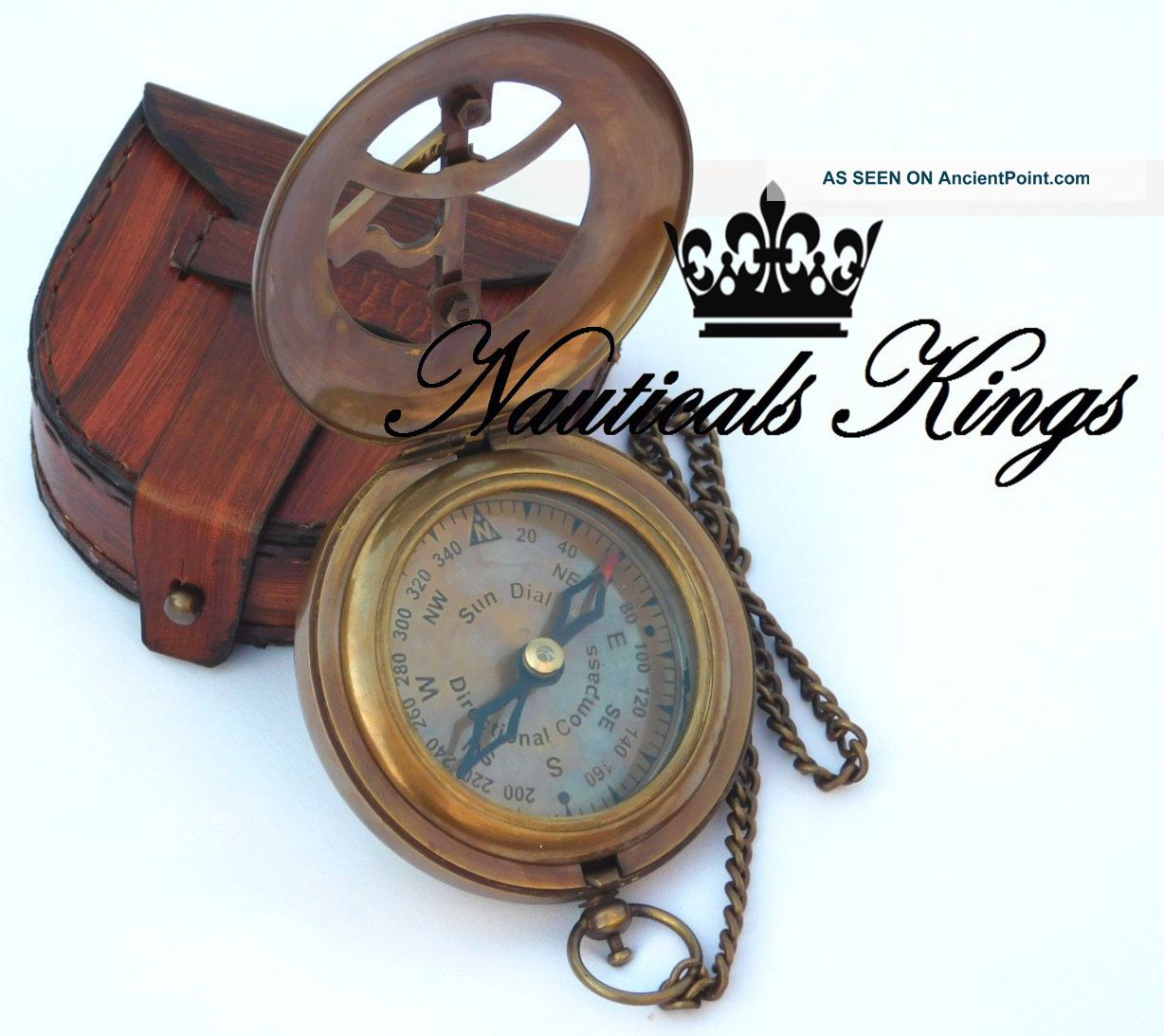 Sundial Compass Antique Brass Folding Push Button Compass Nautical Maritime Compasses photo